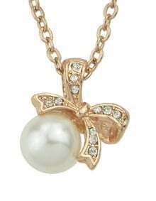 Gold Pearl Diamond Bow Necklace
