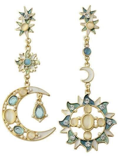 Gemstone Gold Moon Sun Star Earrings