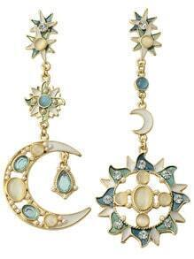 Gemstone Gold Moon Sun Star Earrings