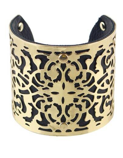 Gold Black Hollow Cuff Bracelet