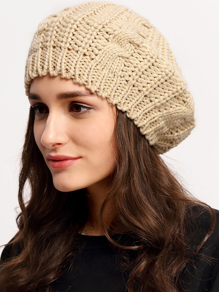 Loose Beret Knitting Pattern : Khaki Knit Ski Loose Beret -SheIn(Sheinside)