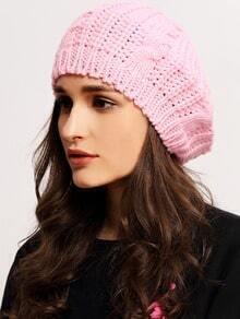 Pink Knit Ski Loose Beret
