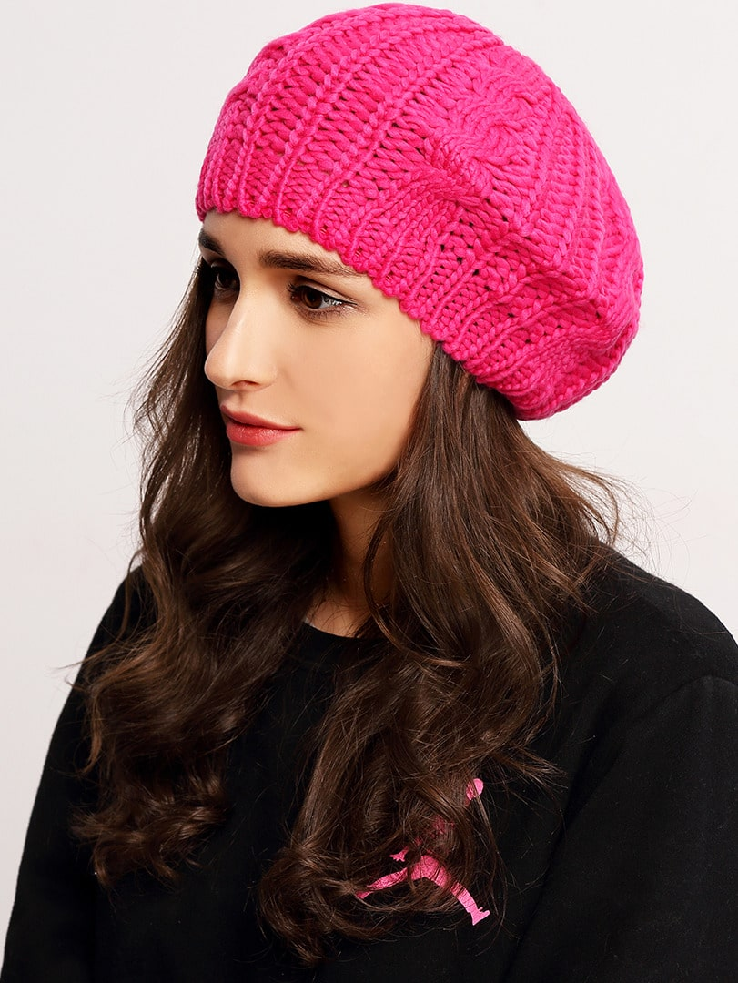 Loose Beret Knitting Pattern : Rose Red Knit Ski Loose Beret -SheIn(Sheinside)