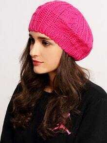 Rose Red Knit Ski Loose Beret
