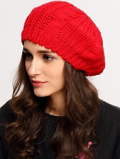 Loose Beret Knitting Pattern : Red Knit Ski Loose Beret -SheIn(Sheinside)