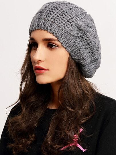 Loose Beret Knitting Pattern : Grey Knit Ski Loose Beret -SheIn(Sheinside)
