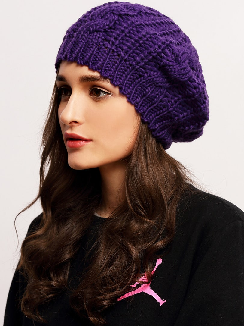 Loose Beret Knitting Pattern : Purple Knit Ski Loose Beret -SheIn(Sheinside)