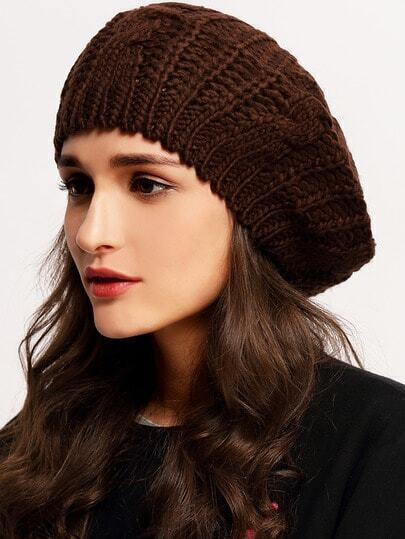 Loose Beret Knitting Pattern : Browm Knit Ski Loose Beret -SheIn(Sheinside)