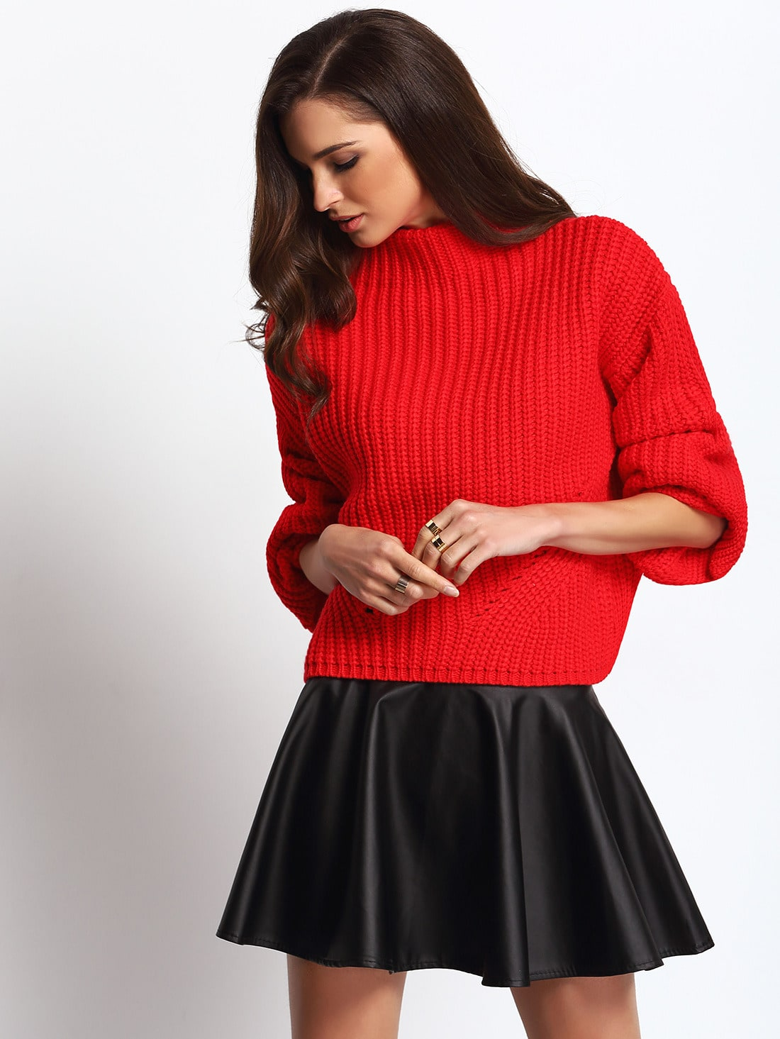 Red Chunky Knit High Neck Crop Sweater -SheIn(Sheinside)