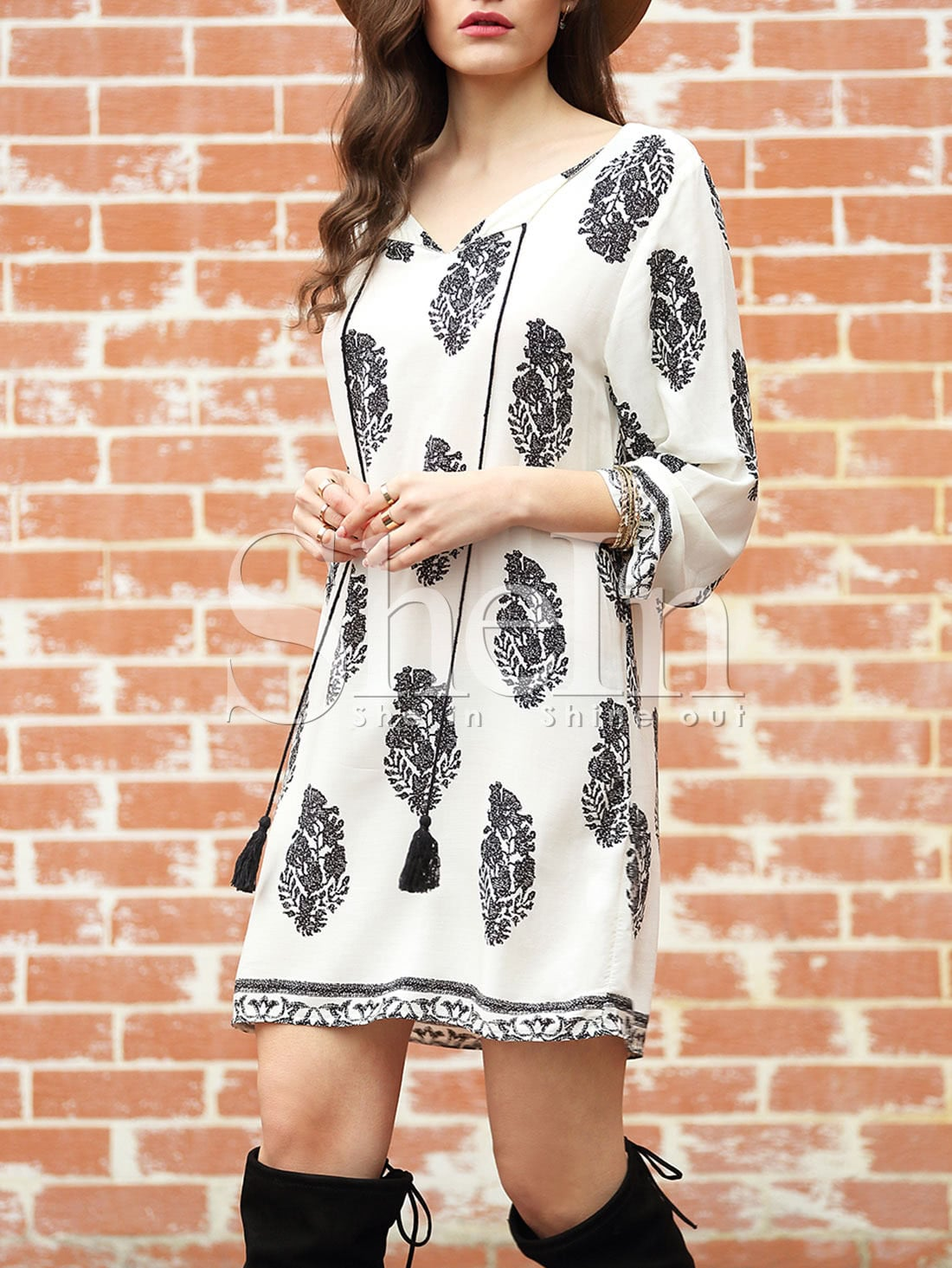 White Long Sleeve Lacing Floral Print DressWhite Long Sleeve Lacing Floral Print Dress<br><br>color: White<br>size: L,M,S,XL,XS,XXL
