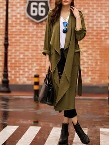 Army Green Drapped Collar Slit Back Duster Coat