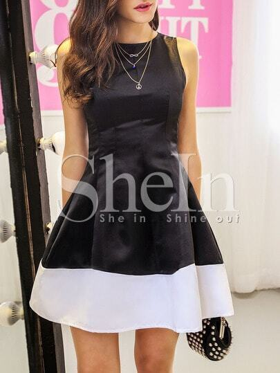 Black Sleeveless Contrast Hem Flare Dress pictures