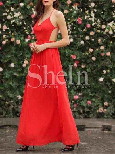 Red Spaghetti Strap Backless Elegent Maxi Dress