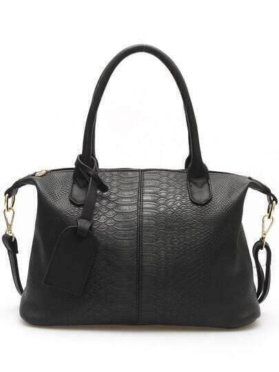 Black Zipper Serpentine PU Bag