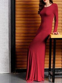 Burgundy Backless Plain Maxi Dress