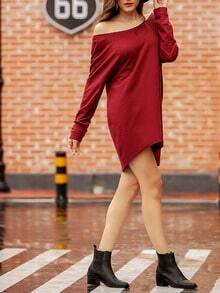 Burgundy V Back T-shirt Dress
