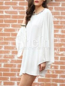 White Long Sleeve Backless Embroidered Dress