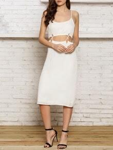 White Sun Beach Spaghetti Strap Cut Out Waist Maxi Dress Skirts