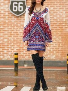 Wide Neck Aztec Print Shift Dress