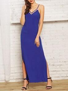 Blue Spaghetti Strap High Side Split Maxi Dress