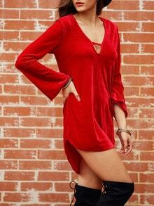 Red Deep V Neck Side Slit Dress