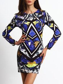 Blue Crew Neck Tribal Print Dress