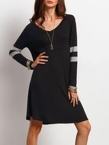 Black Color Blcok Trims T-shirt Dress
