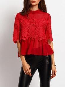 Burgundy Cut Out Crochet Lace Mesh Blouse