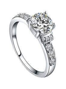 White Gold Plated Platinum Diamond Ring