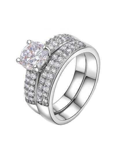 platinum ring sets with white zircon