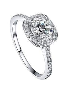 White Gold Plated Platinum Round Square Diamond Ring