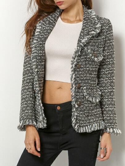 Silver Long Sleeve Fringe Jacket