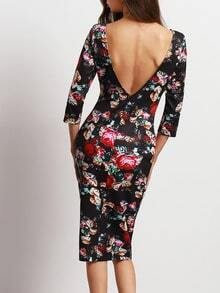 Black Backless Floral Sheath Dress
