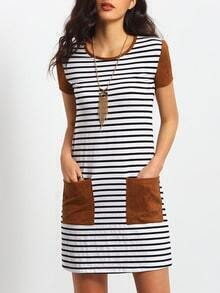 White Striped Contrast Pockets Dress