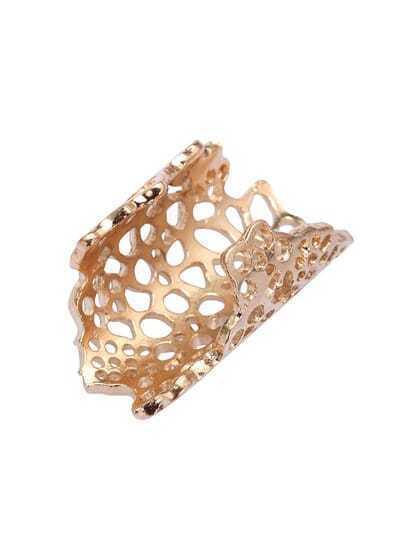 Gold Openwork Flower Ring