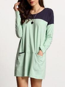 Blue Patchwork Green Pockets Casual Dress