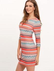 Multicolor Round Neckline Tribal Bodycon Dress
