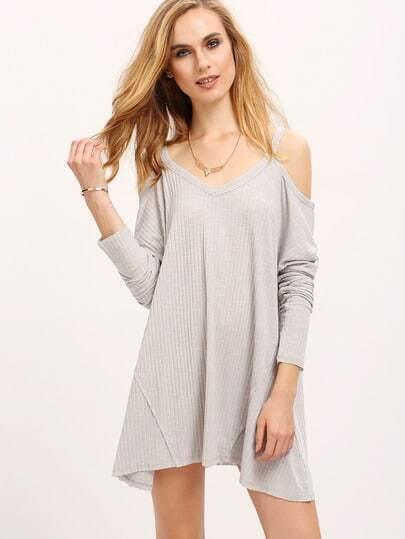 Grey Off The Shoulder Loose Rib Dress