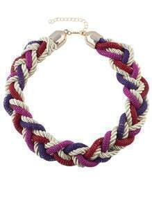 Purple Braided Rope Chunky  Necklace