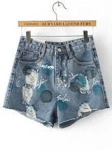 Blue Pockets Letters Print Denim Shorts