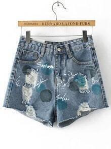 Blue Pockets Letters Print Denim Shorts
