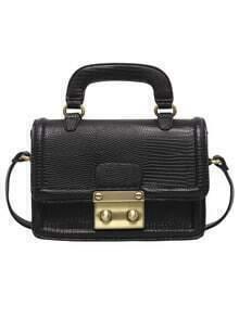 Black Metallic Embellished PU Bag
