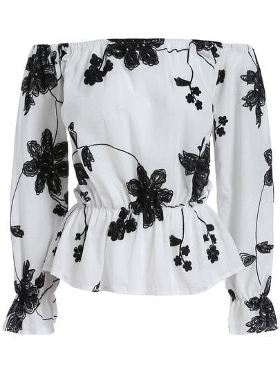 White Black Off the Shoulder Floral Blouse cute off the shoulder black floral printed short blouse for women