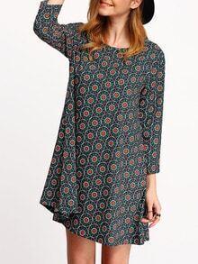Round Neck Vintage Print A-Line Dress