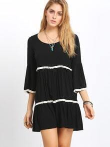 Black Scoop Neck Bell Sleeve Fringed Loose Dress