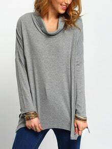 Grey Turtleneck Asymmetric T-Shirt