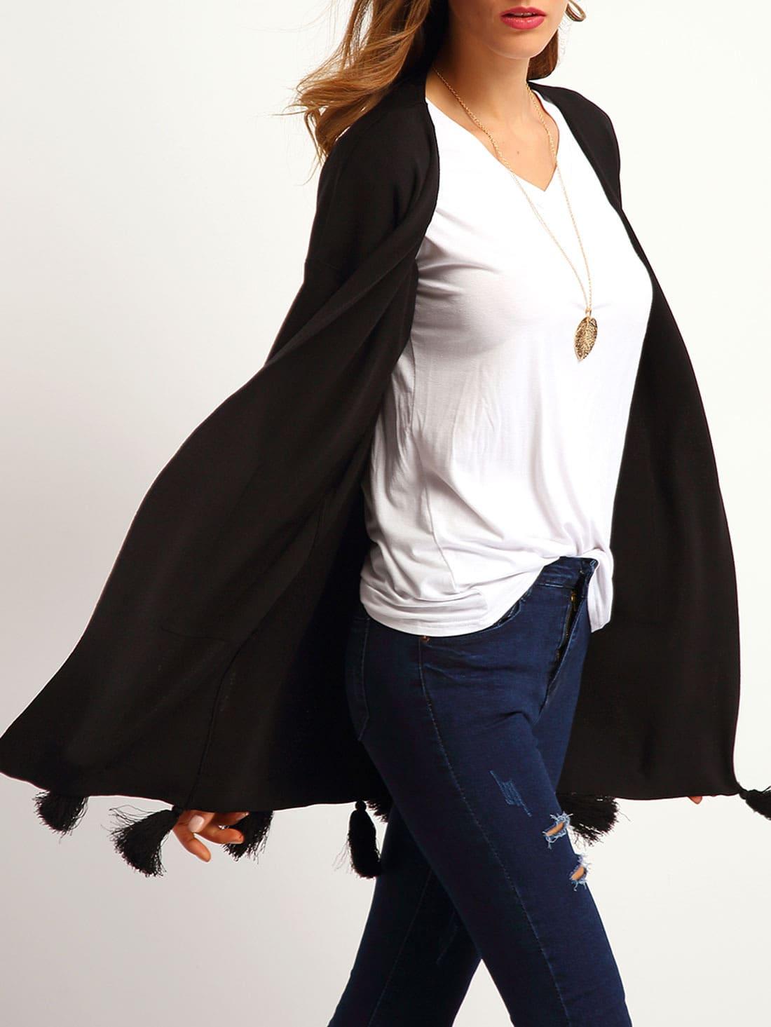 Black Fringe Cuffed Pockets CoatBlack Fringe Cuffed Pockets Coat<br><br>color: Black<br>size: one-size