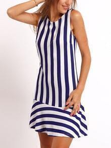 Navy White Crew Neck Vertical Stripe Dress