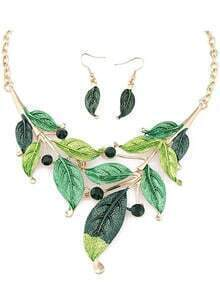 Green Leaves Jewelry Set