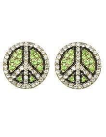 Green Round Fancy Stud Earrings